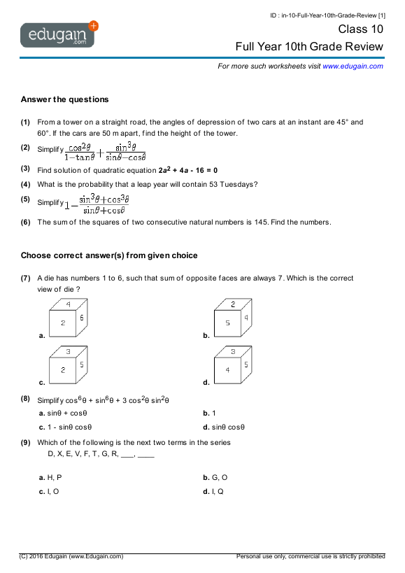 10th grade math problems Students completing the 10th grade are expected to know certain core mathematics concepts, which include material from geometry and algebra courses.