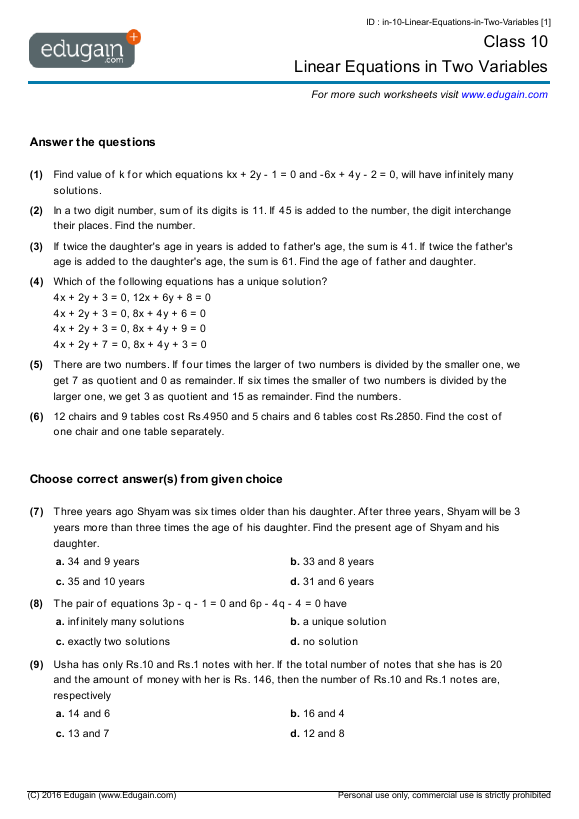 Year 10 Math Worksheets and Problems: Linear Equations in Two ...