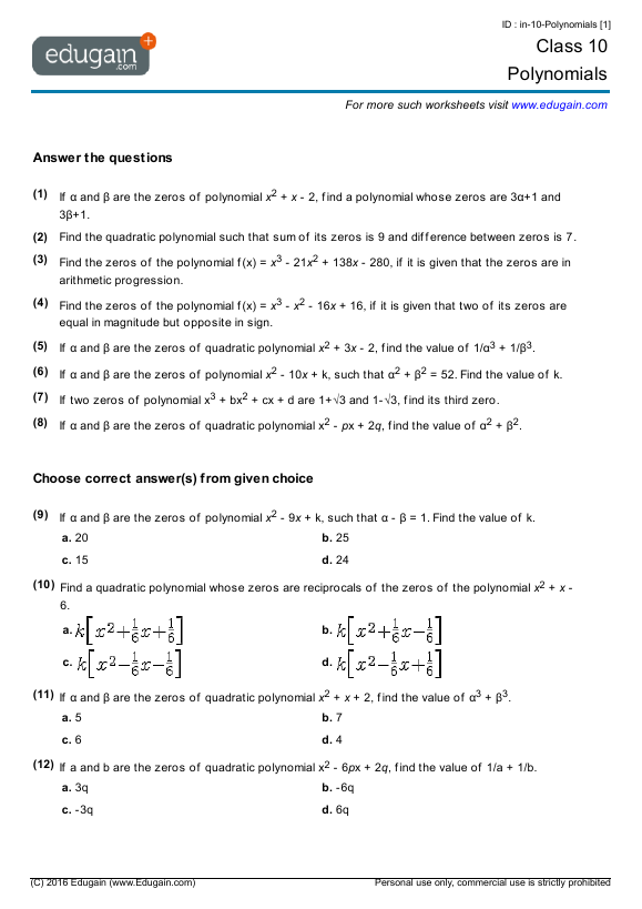 Grade 10 Math Worksheets and Problems Polynomials – Polynomial Worksheets
