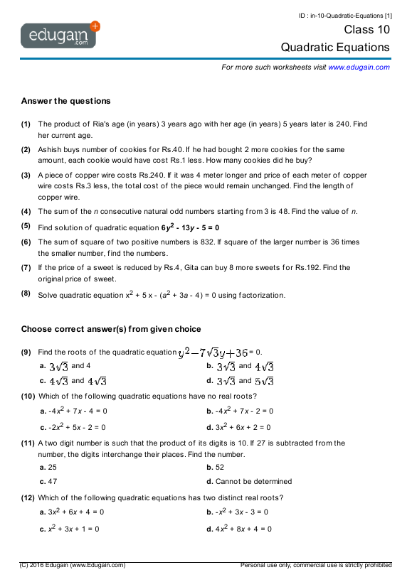 Class 10 Math Worksheets and Problems: Quadratic Equations | Edugain ...