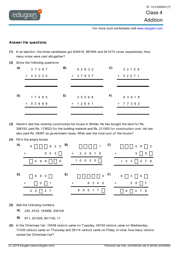 Class 4 Math Worksheets and Problems: Addition | Edugain India
