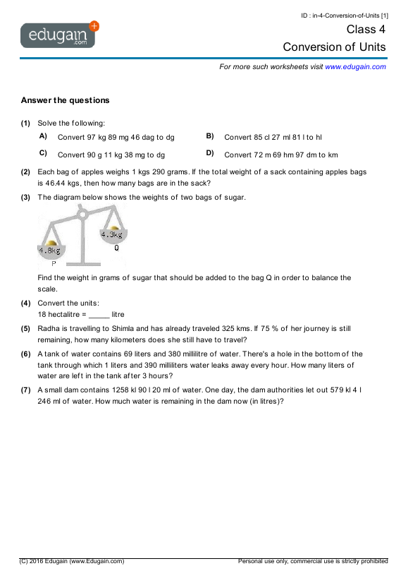 Grade 4 Math Worksheets and Problems: Conversion of Units ...
