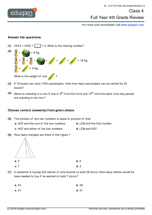 Year 4 Math Worksheets and Problems: Full Year 4th Grade ...