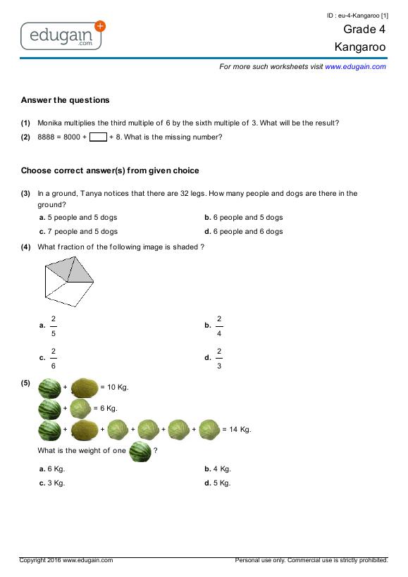 Grade 4 Kangaroo: Printable Worksheets, Online Practice, Online ...