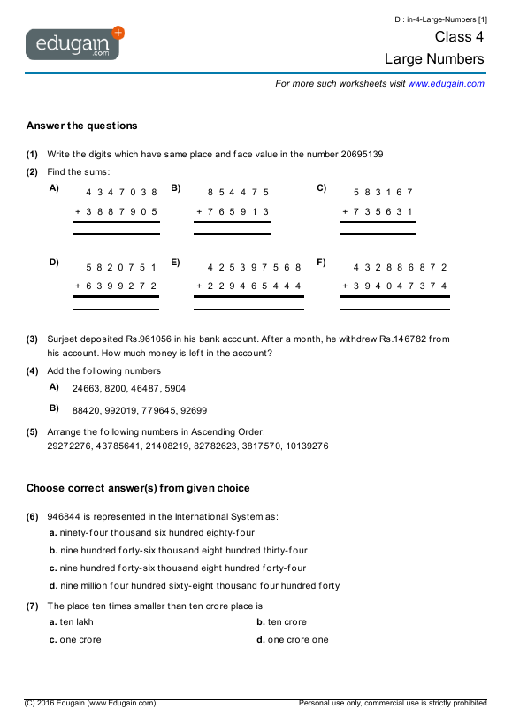 Grade 4 Math Worksheets and Problems: Large Numbers | Edugain S Korea