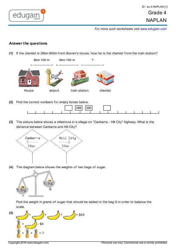 year 4 naplan printable worksheets online practice online tests and problems edugain australia. Black Bedroom Furniture Sets. Home Design Ideas