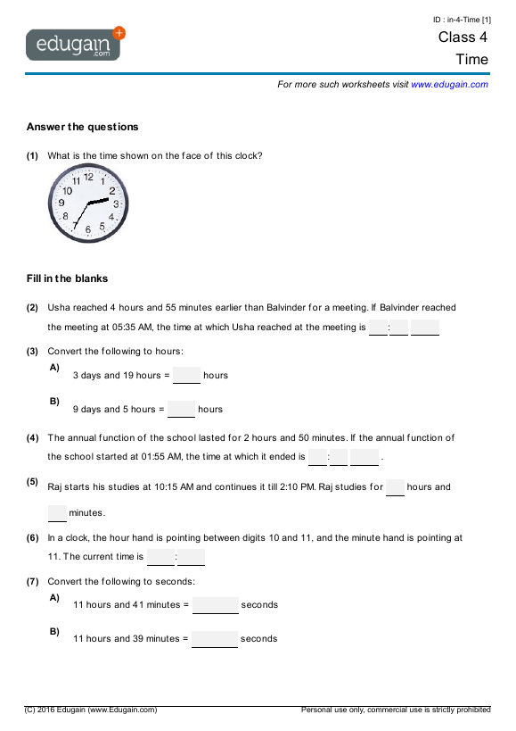 Class 4 Math Worksheets and Problems: Time | Edugain India