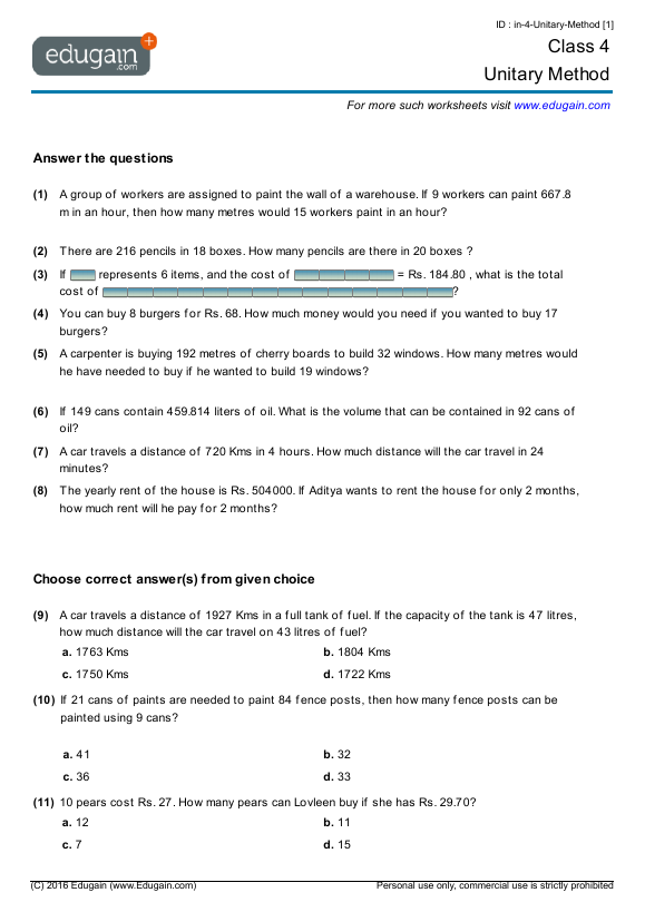 Grade 4 Math Worksheets and Problems: Unitary Method | Edugain Global
