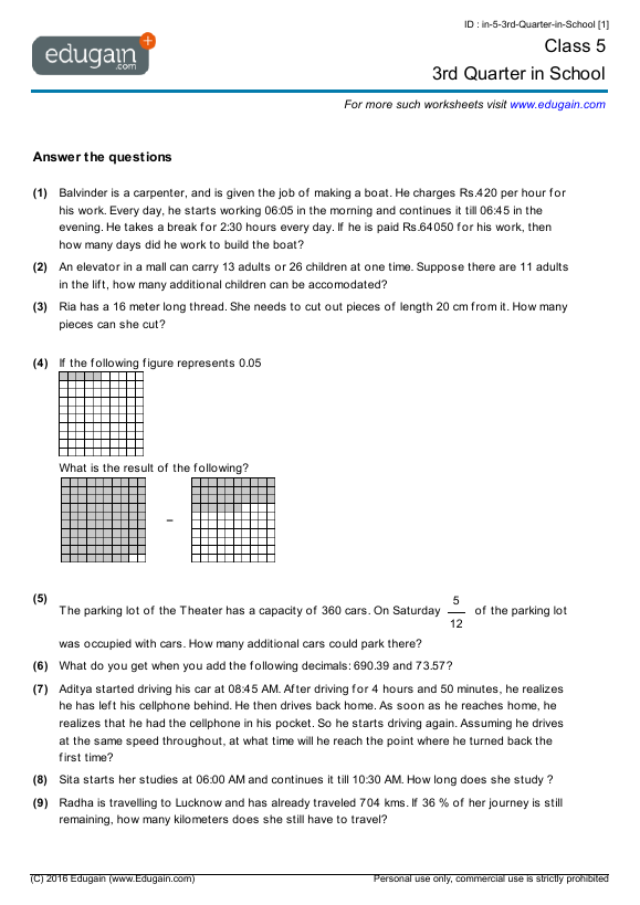 Grade 5 Math Worksheets and Problems: 3rd Quarter in School ...