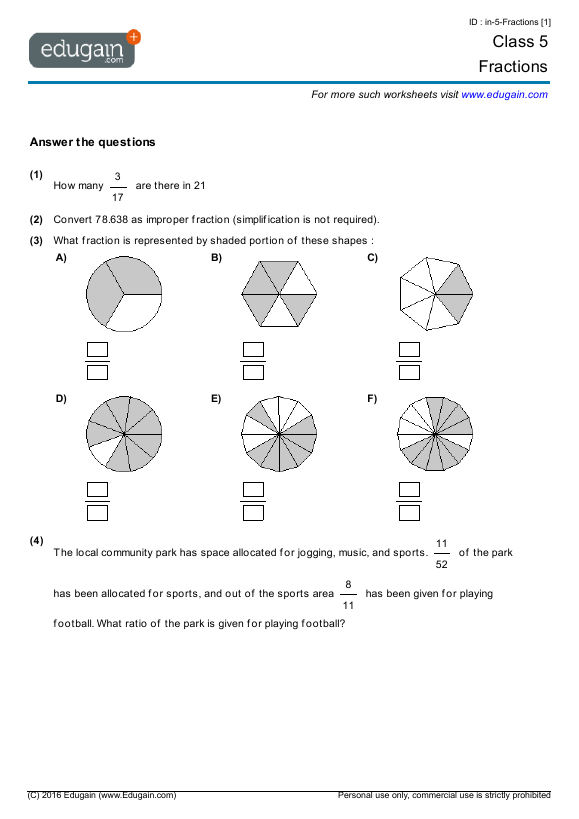 Class 5 Math Worksheets and Problems: Fractions | Edugain India