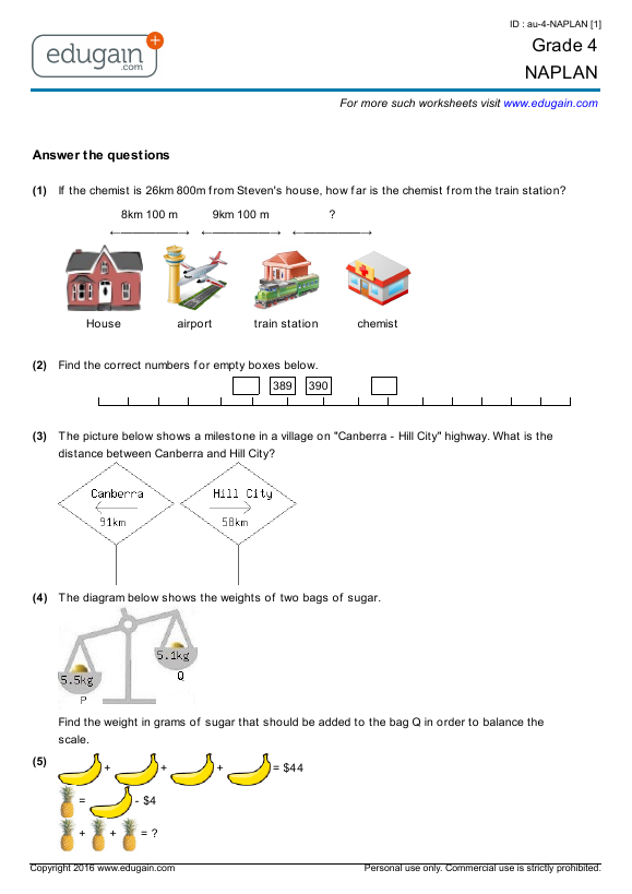 Year 5 NAPLAN: Printable Worksheets, Online Practice, Online Tests ...