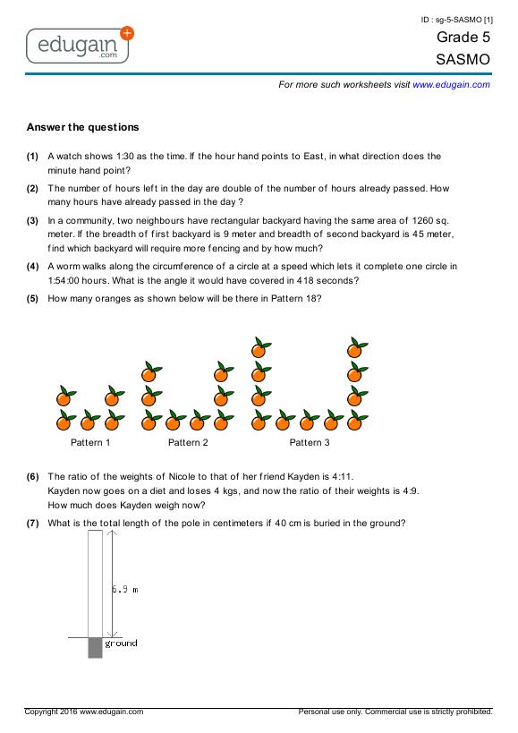 Grade 5 SASMO: Printable Worksheets, Online Practice, Online Tests