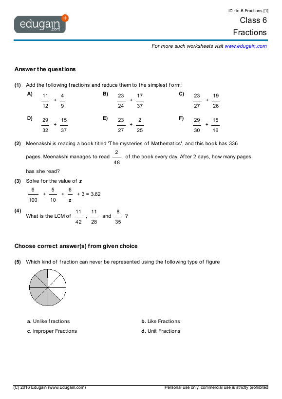 Grade 6 Math Worksheets and Problems: Fractions | Edugain Global