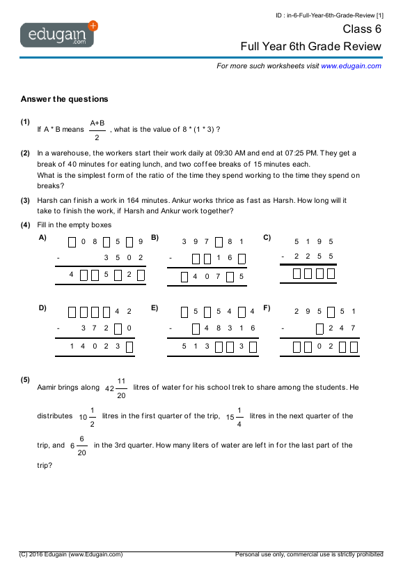 Grade 6 Math Worksheets and Problems: Full Year 6th Grade Review ...