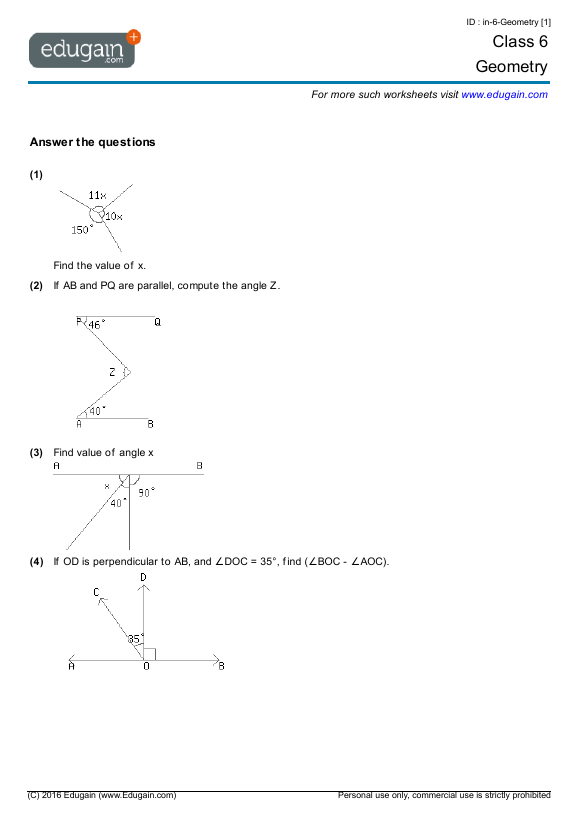 Class 6 Math Worksheets and Problems: Geometry | Edugain India