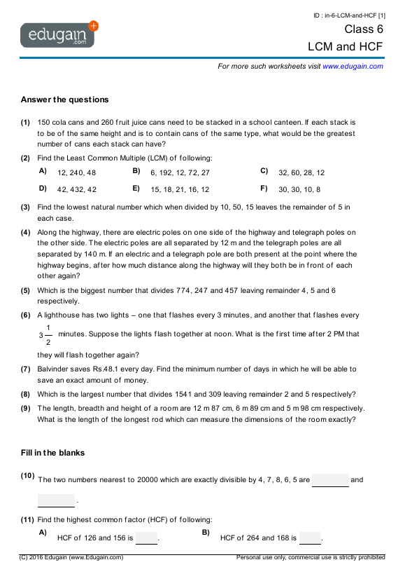 Class 6 Math Worksheets and Problems: LCM and HCF | Edugain India