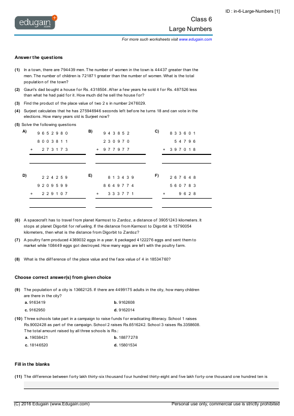 Class 6 Math Worksheets and Problems: Large Numbers | Edugain India