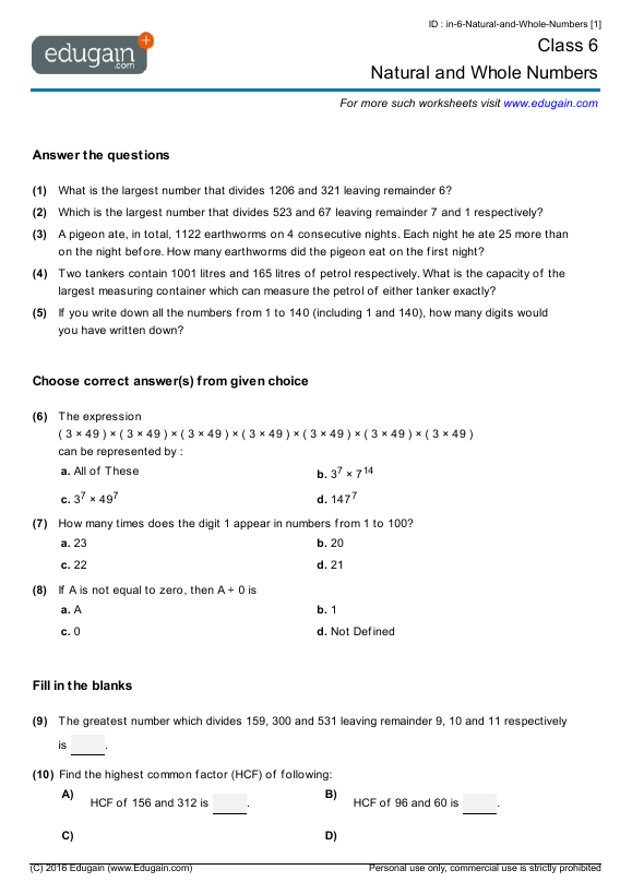 Year 6 Math Worksheets and Problems: Natural and Whole Numbers ...