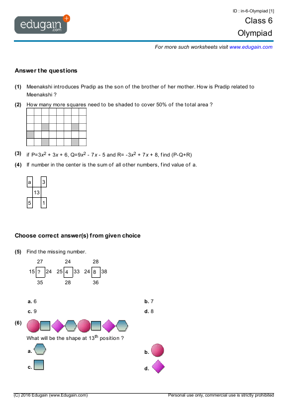 Year 6 Olympiad: Printable Worksheets, Online Practice