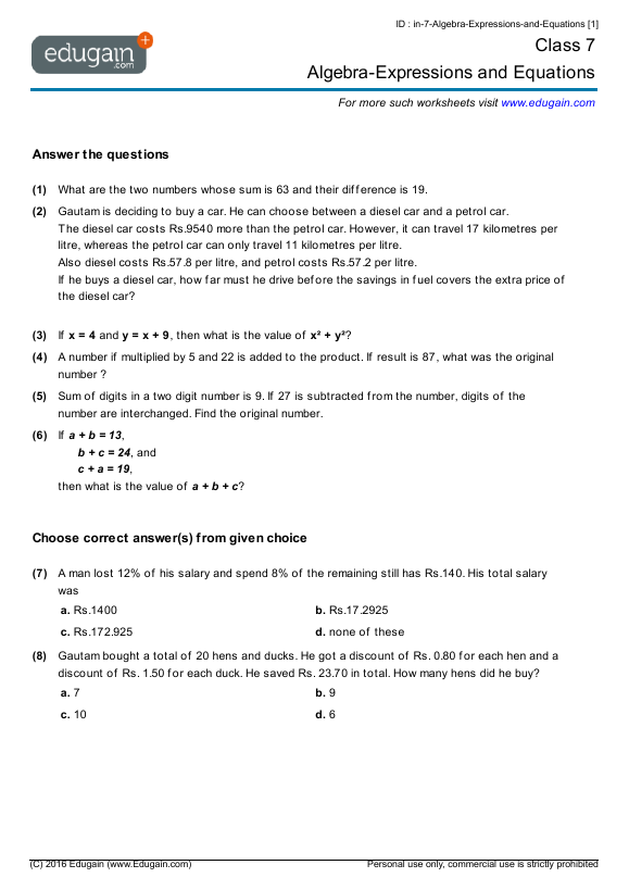 Grade 7 Math Worksheets And Problems Algebra Expressions And