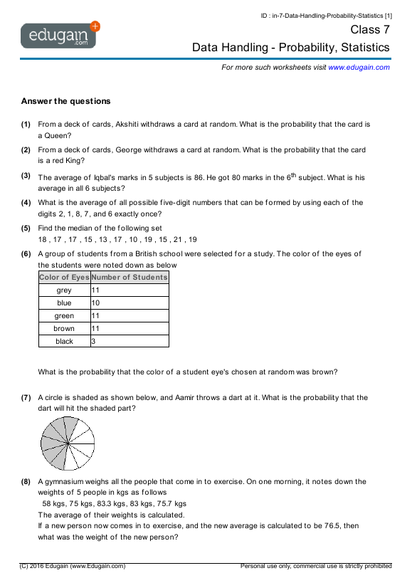 Grade 7 Math Worksheets and Problems: Data Handling
