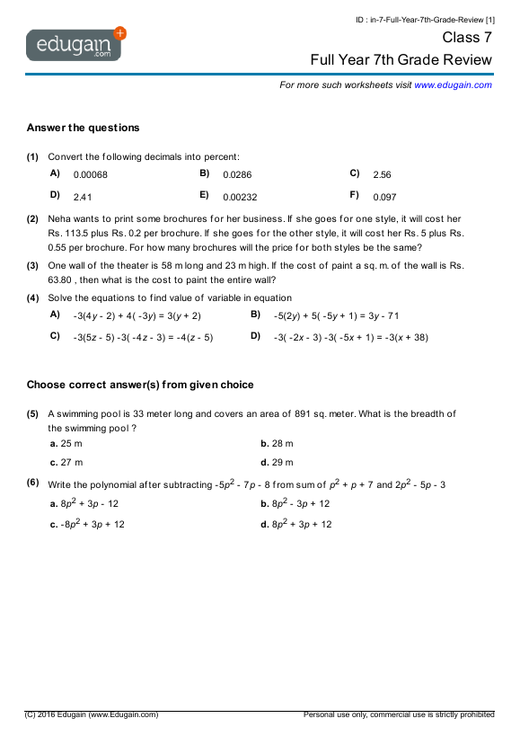 Grade 7 Math Worksheets and Problems: Full Year 7th Grade Review ...