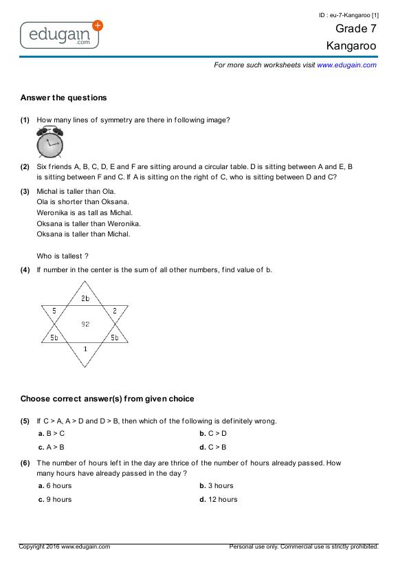 Grade 7 Kangaroo: Printable Worksheets, Online Practice
