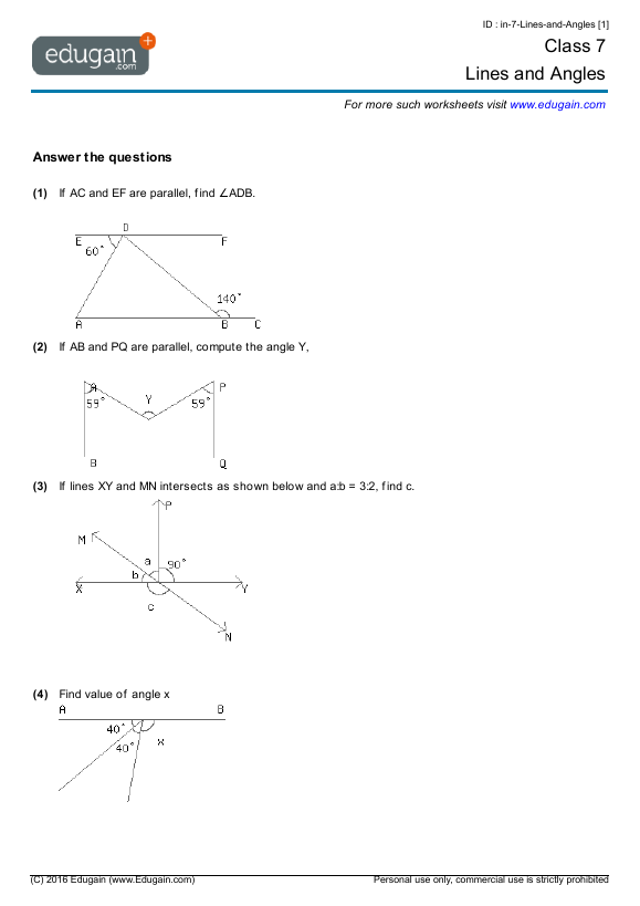Grade 7 Math Worksheets And Problems Lines And Angles Edugain Global