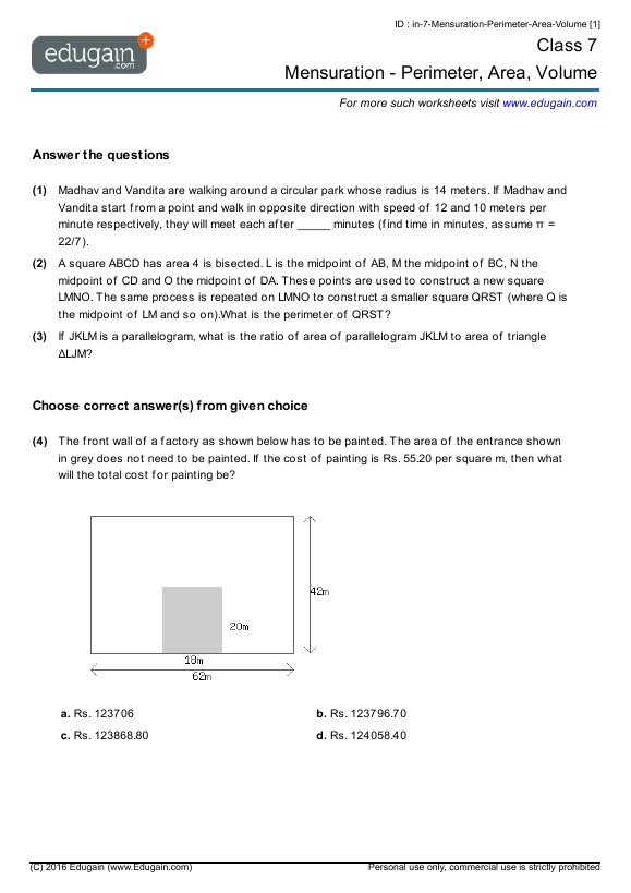 Class 7 Math Worksheets And Problems Mensuration