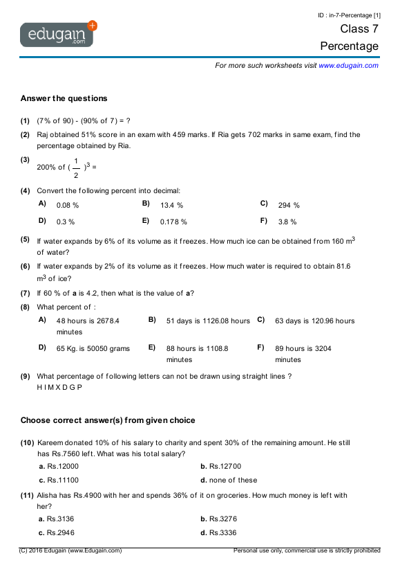 Grade 7 Math Worksheets and Problems: Percentage | Edugain Global