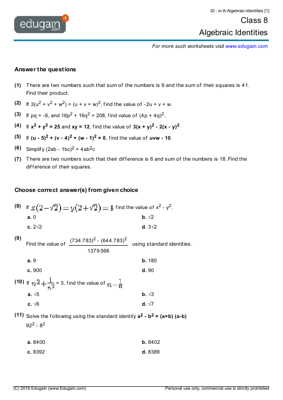 Year 8 Math Worksheets And Problems Algebraic Identities Edugain