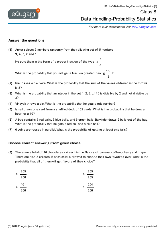 Class 8 Math Worksheets and Problems: Data Handling