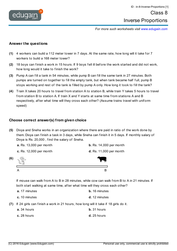 Grade 8 Math Worksheets And Problems Inverse Proportions Edugain