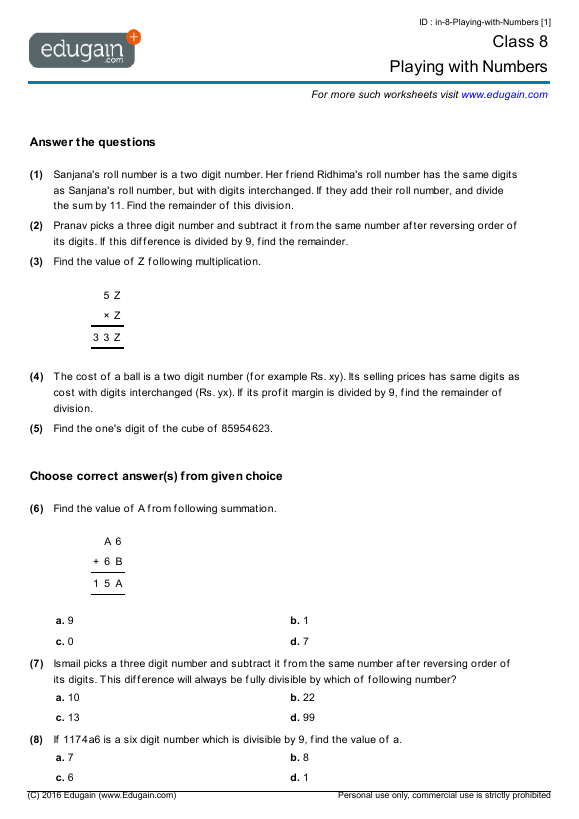 Grade 8 Math Worksheets And Problems Playing With Numbers Edugain