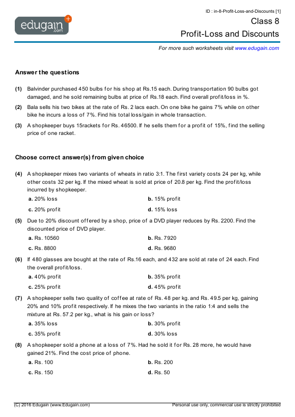 grade  math worksheets and problems profitloss and discounts  contents profitloss and discounts