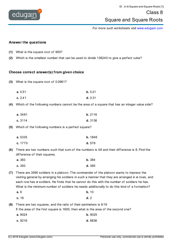 Grade 8 Math Worksheets And Problems Square And Square Roots