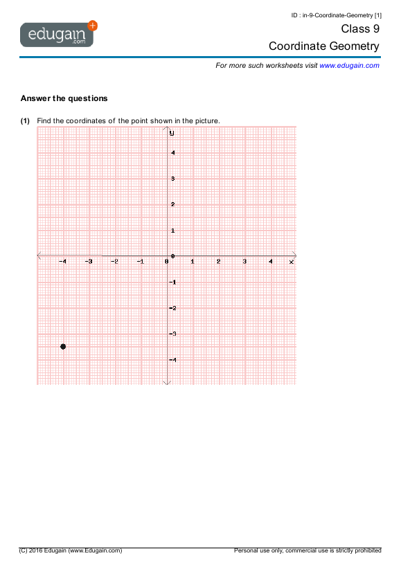 Year 9 Math Worksheets And Problems Coordinate Geometry Edugain