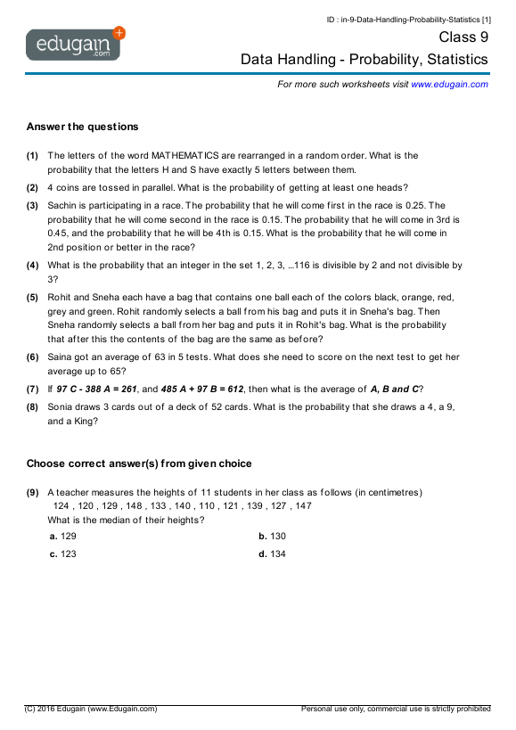 Year 9 Math Worksheets and Problems Data Handling Probability – Statistics Worksheets