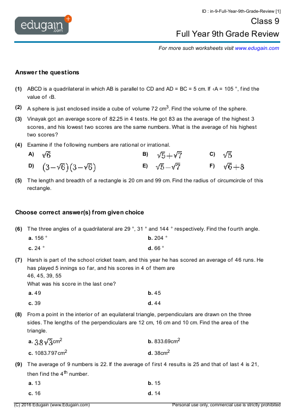 Year 9 Math Worksheets And Problems Full Year 9th Grade Review