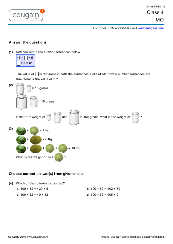 Class 9 IMO: Printable Worksheets, Online Practice, Online Tests and
