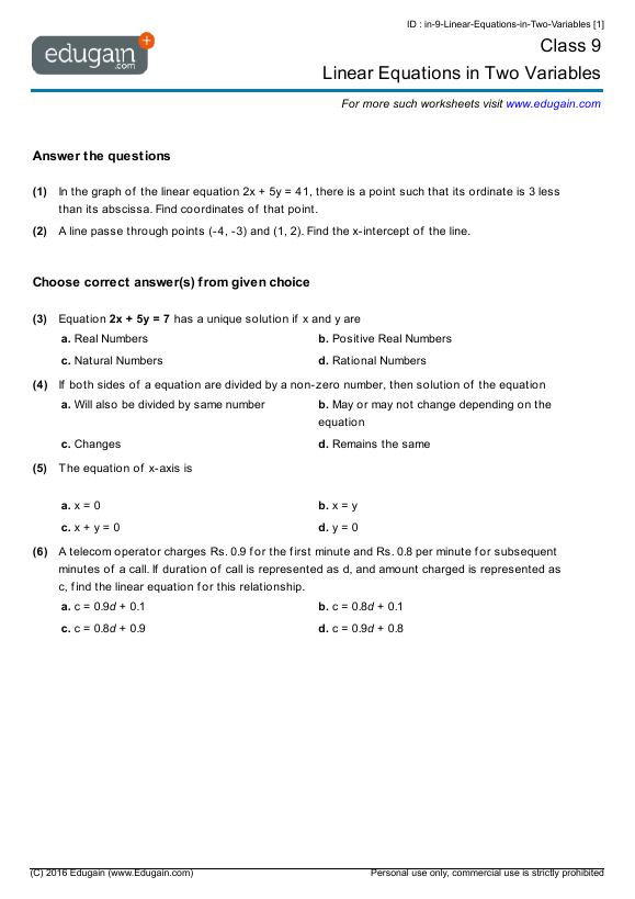 Class 9 Math Worksheets and Problems: Linear Equations in Two ...