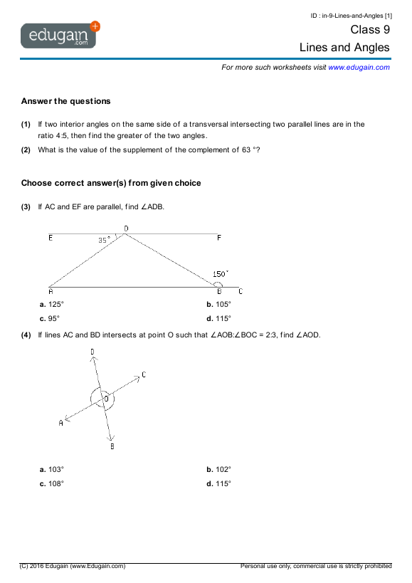 Grade 9 Math Worksheets and Problems: Lines and Angles | Edugain Global