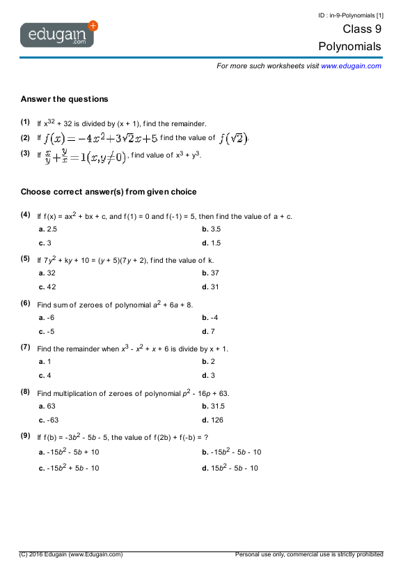 Grade 9 Math Worksheets And Problems Polynomials Edugain Global
