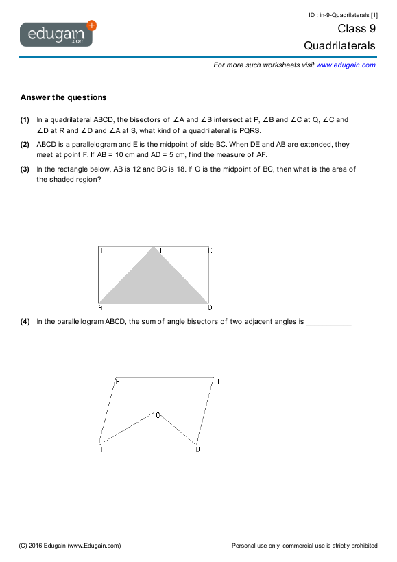 Grade 9 Math Worksheets and Problems: Quadrilaterals ...